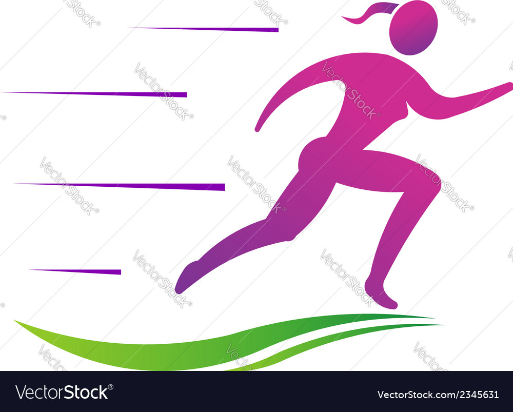 Woman running fast abstract concept of fast vector