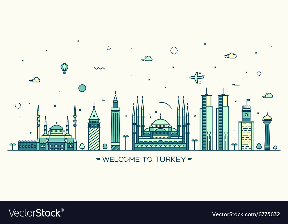 Turkey skyline linear style vector