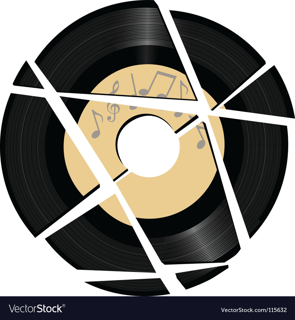 Vinyl record with music label vector