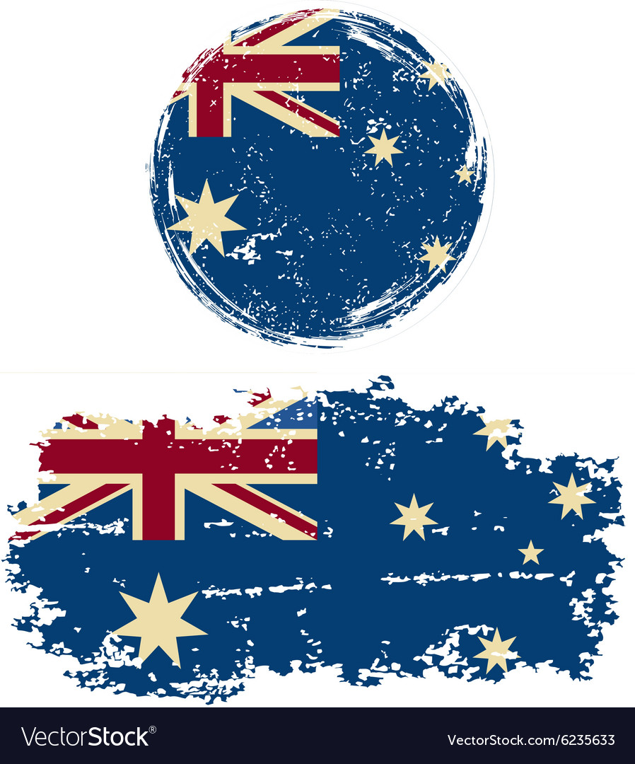 Australian round and square grunge flags vector