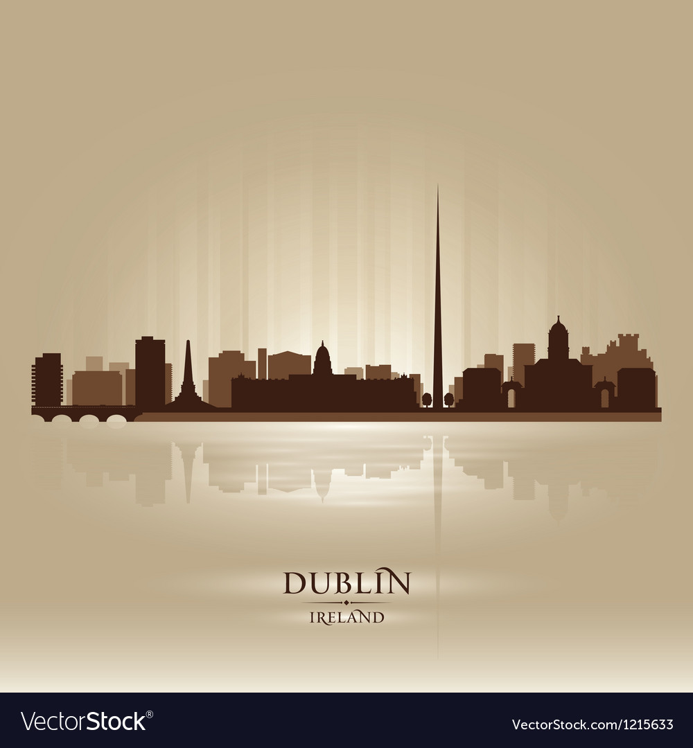 Dublin ireland skyline city silhouette vector