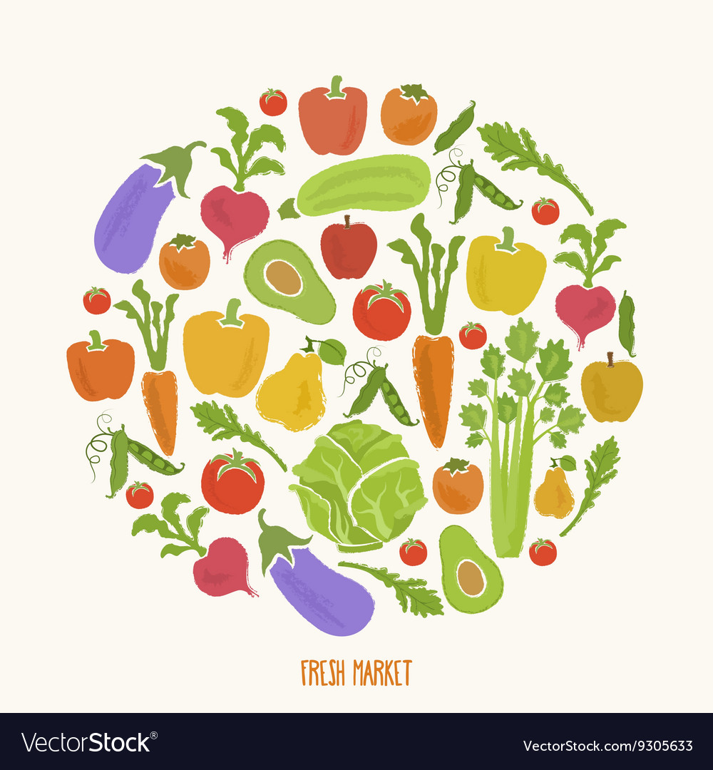 Healthy food background of fresh vegetable vector