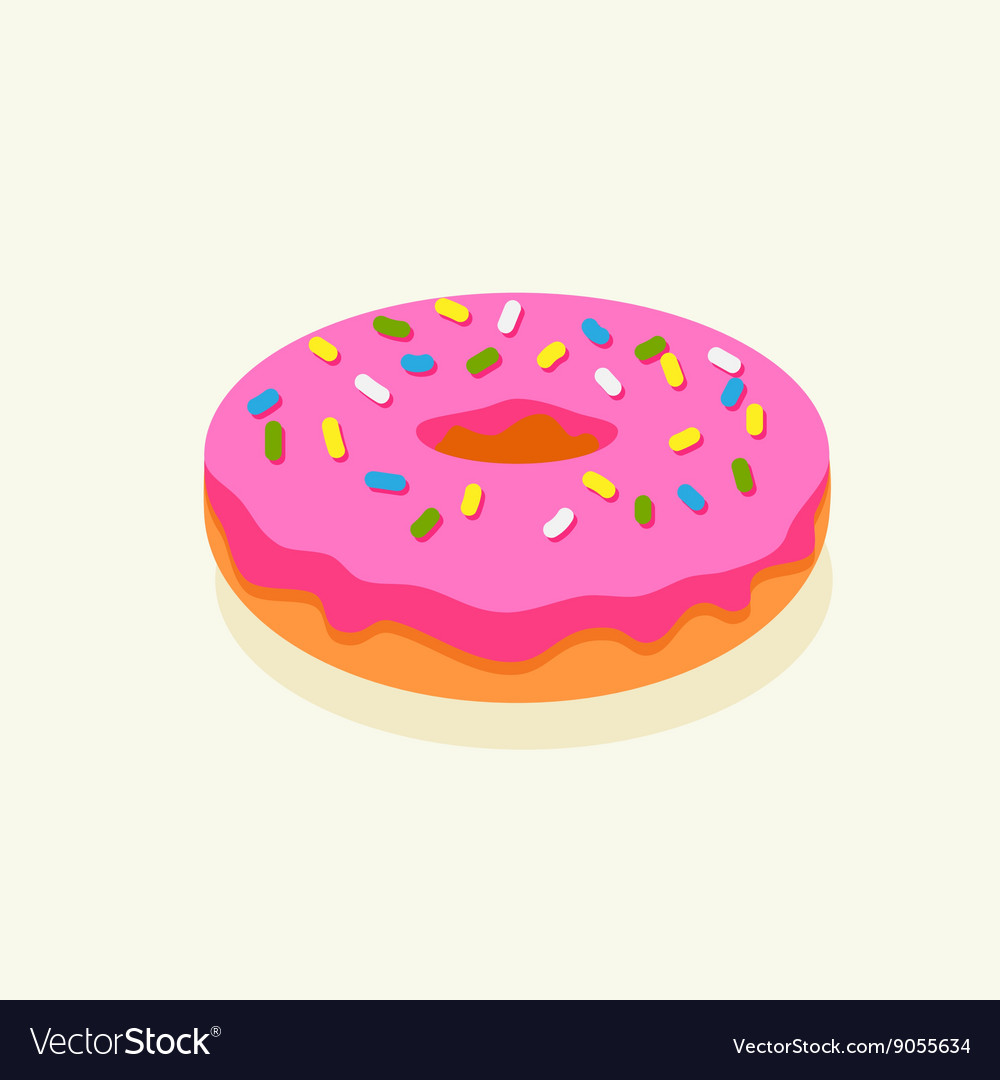 Pink donut with icing vector