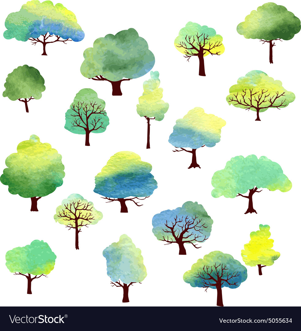Set of different trees by watercolor vector