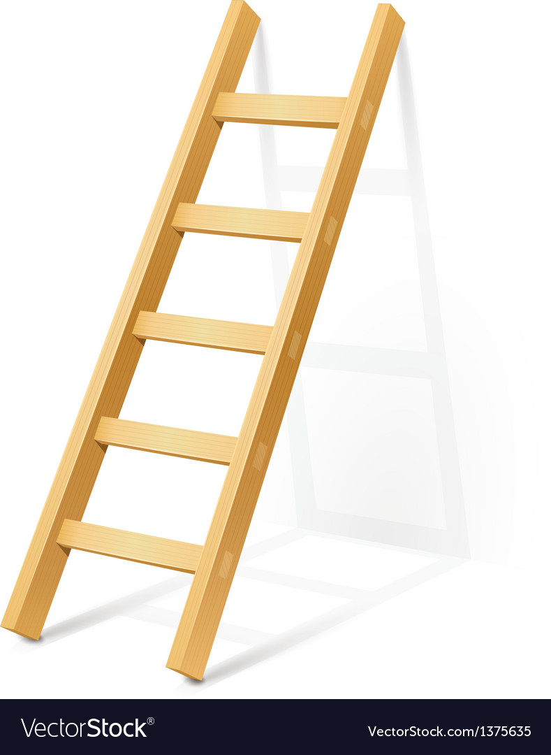 Wooden step ladder vector