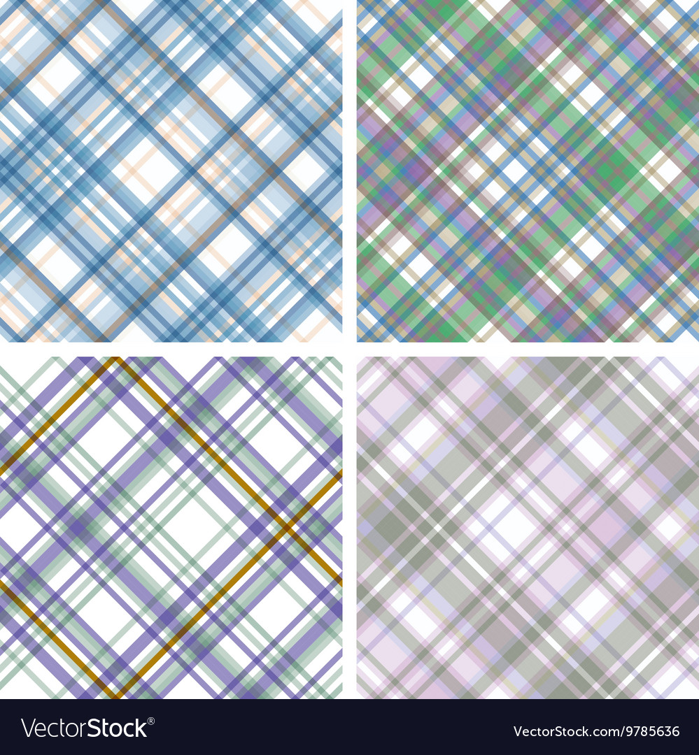 Abstract tartan checkered seamless pattern set vector