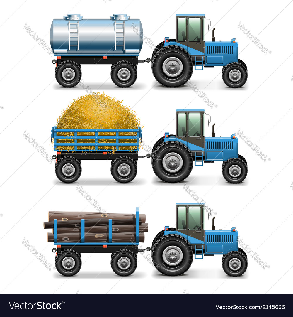 Agricultural tractor set 4 vector