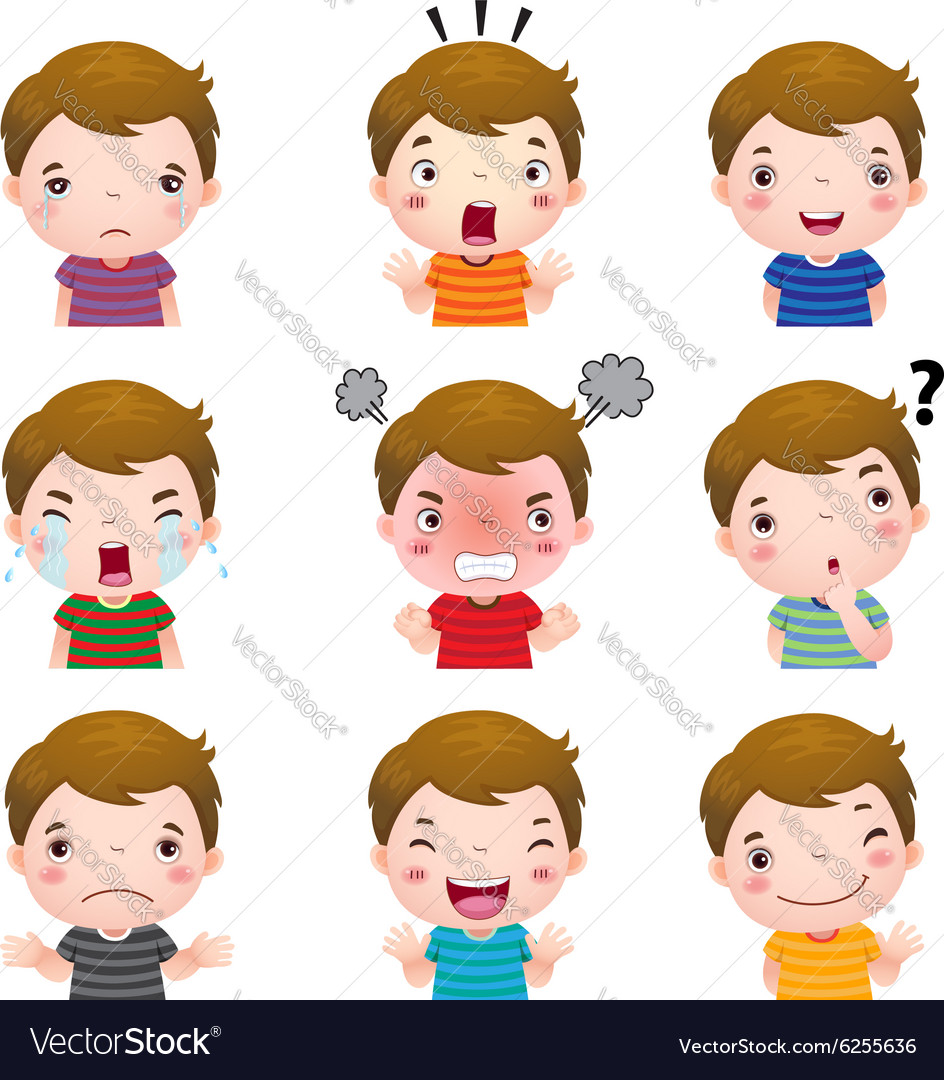 Cute boy faces showing different emotions vector