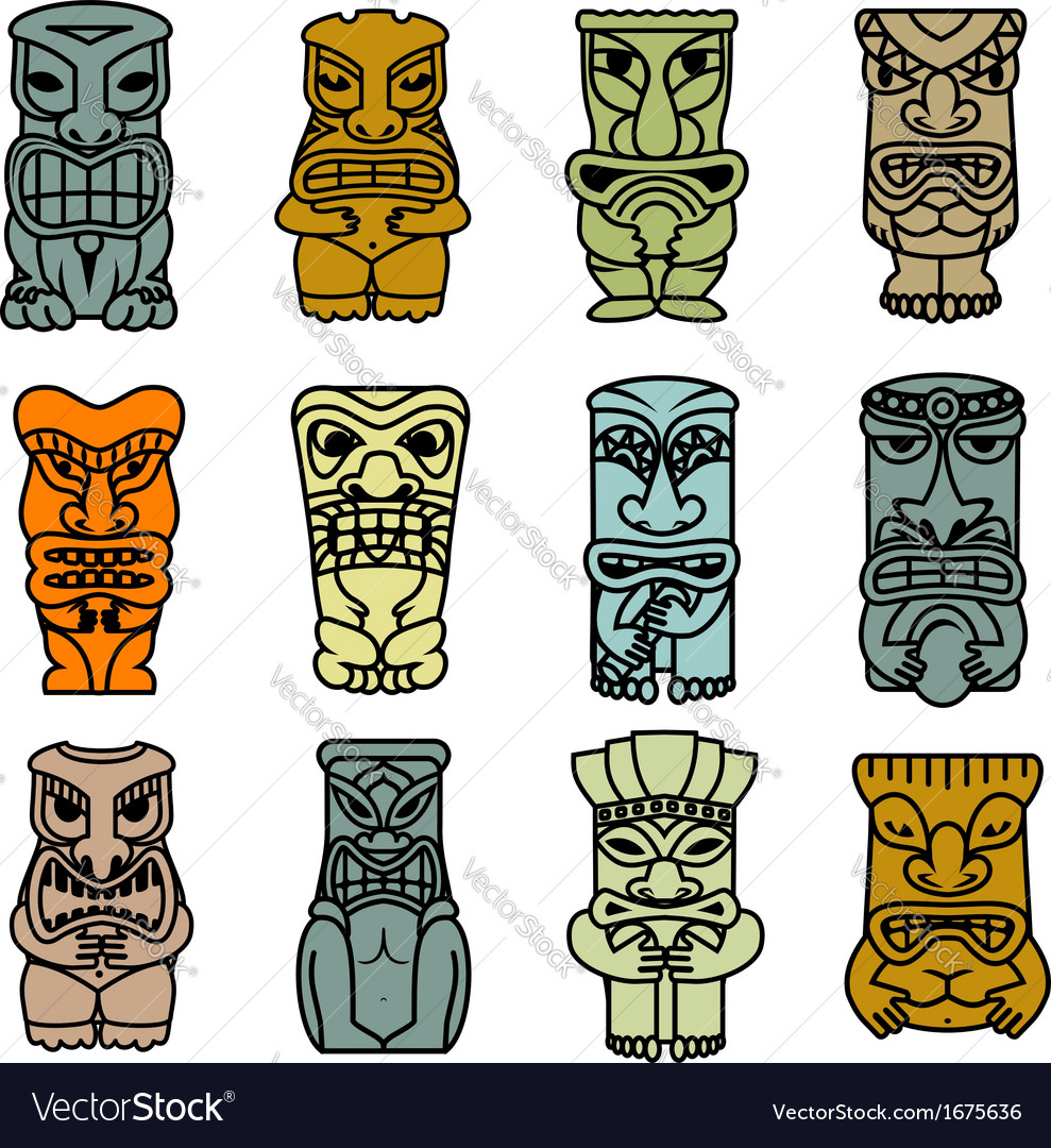 Tribal ethnic masks and totems vector