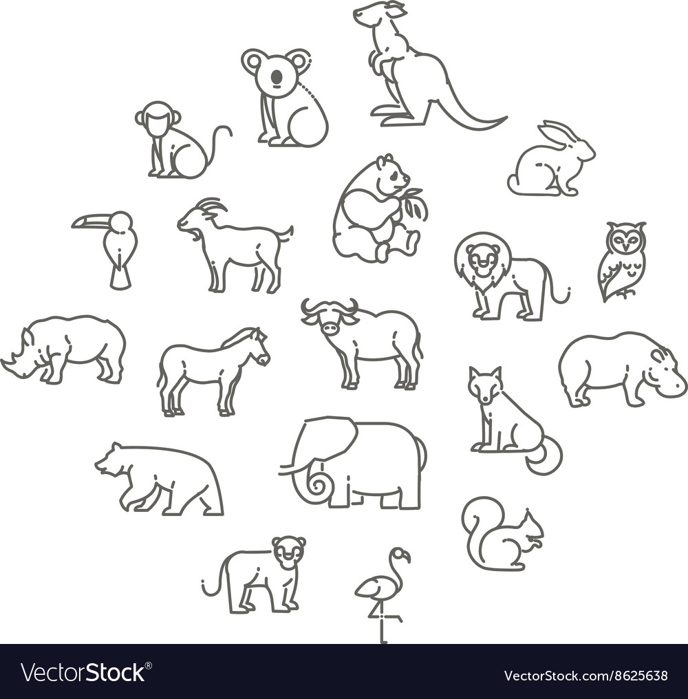 Animal icons zoo icons animals vector