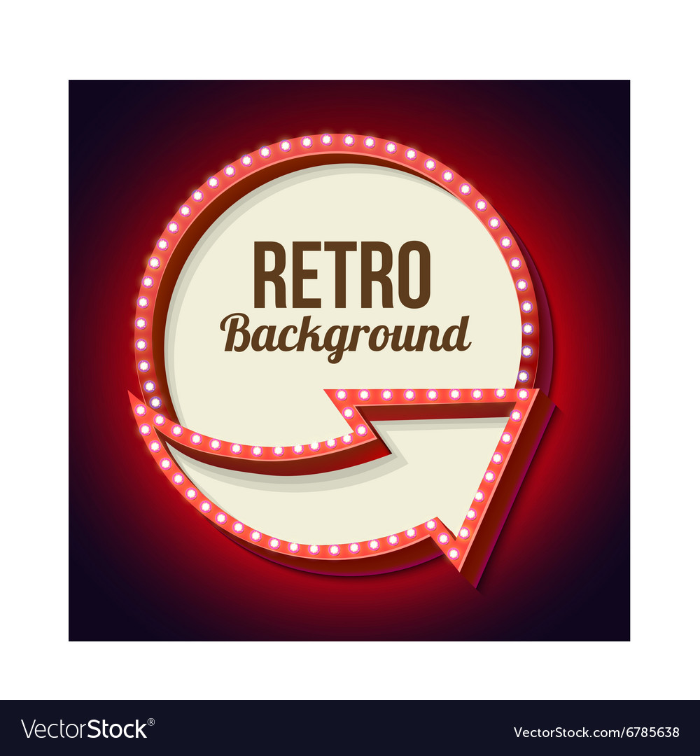 Volume retro circle with an arrow and light bulbs vector