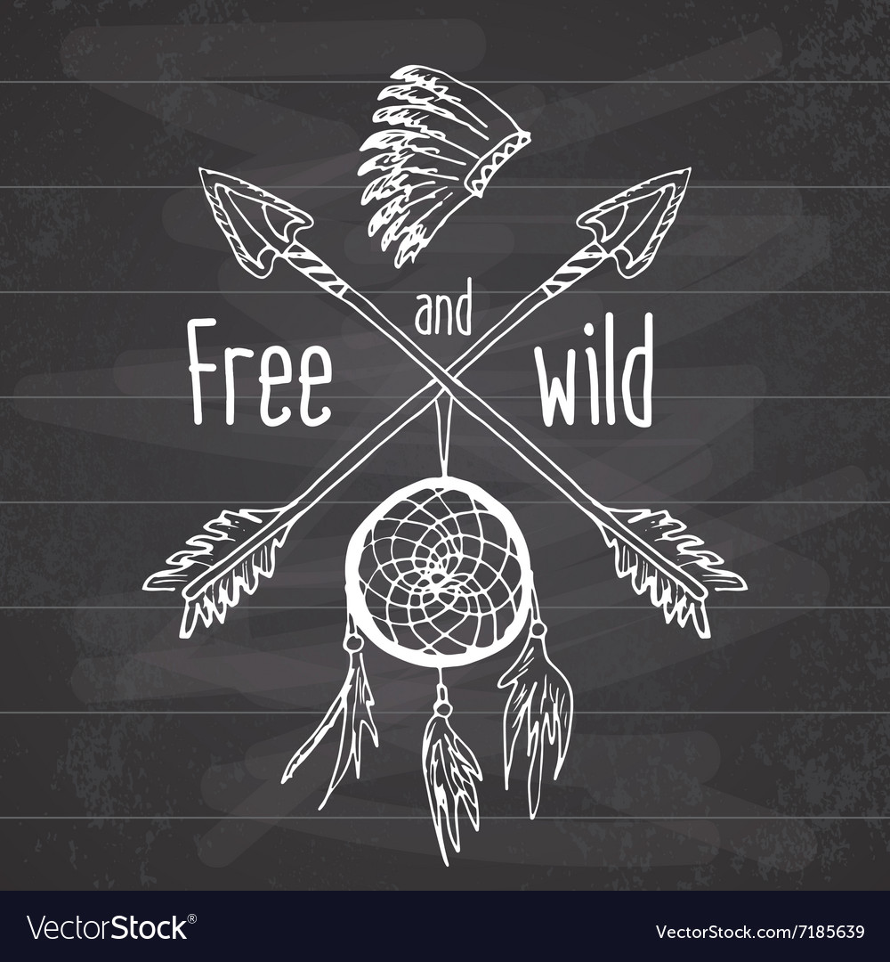 Dream catcher and crossed arrows tribal legend in vector