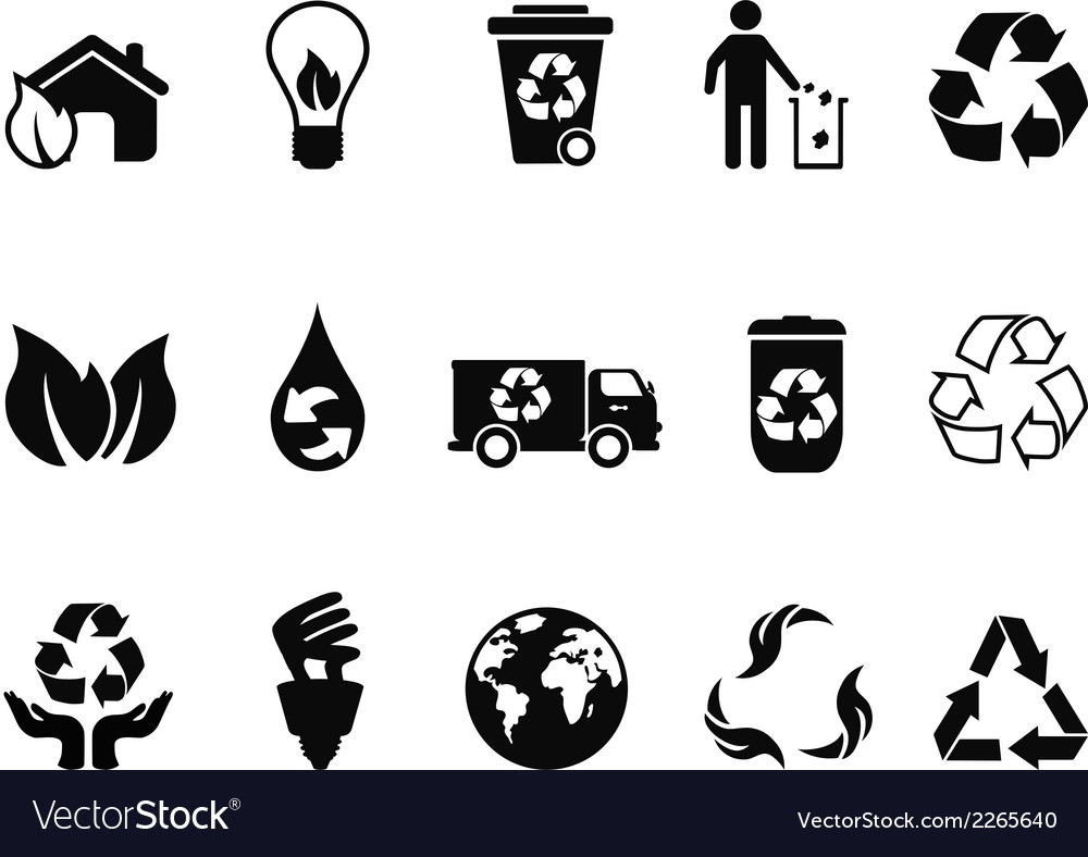 Black recycling icons set vector