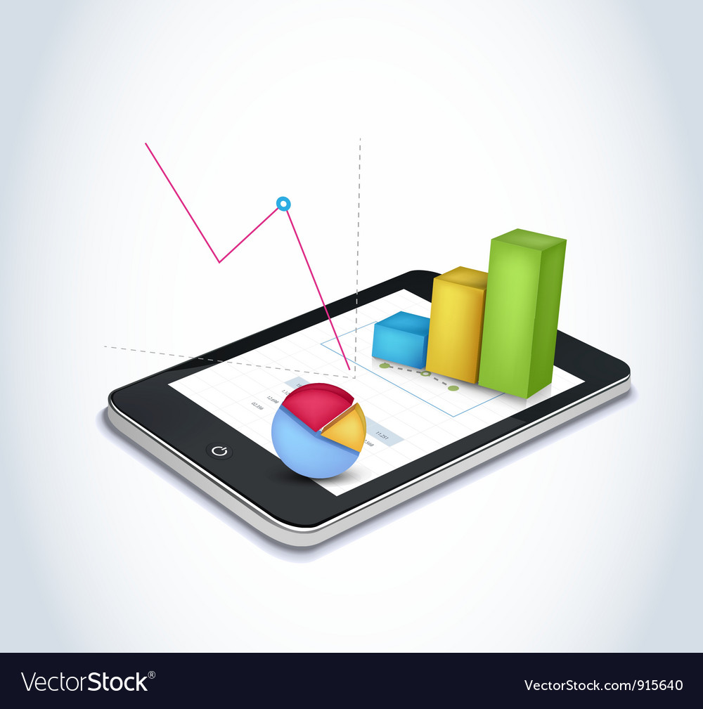 Financial elements on tablet vector