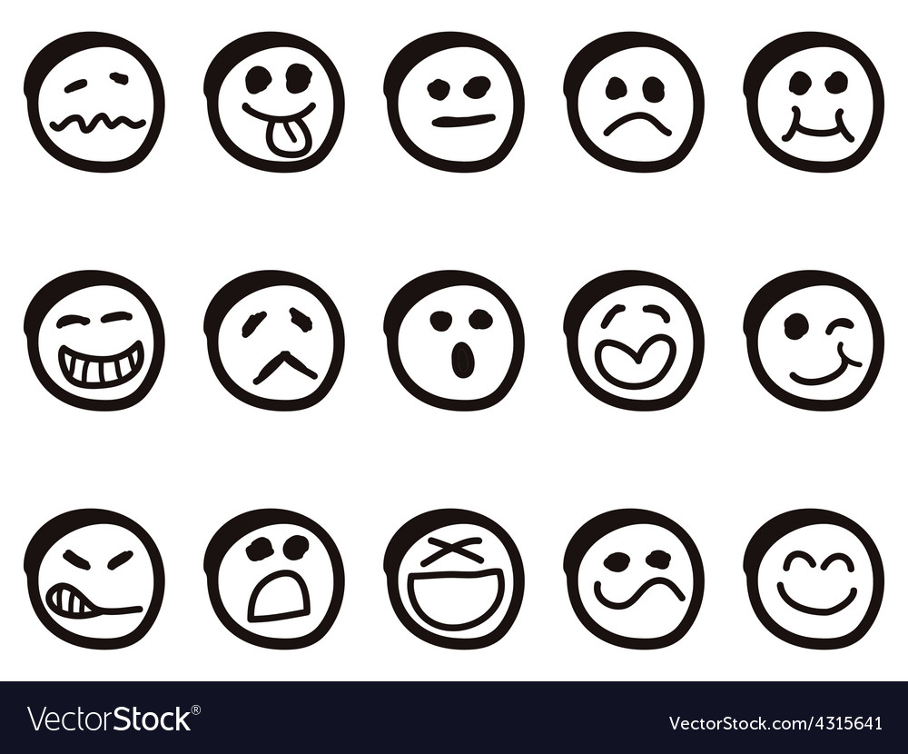 Doodle cartoon smiley faces vector