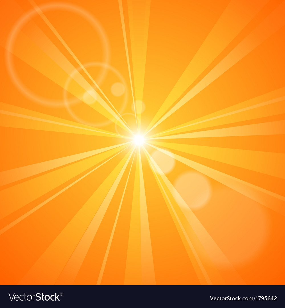 Abstract orange background with sun rays vector