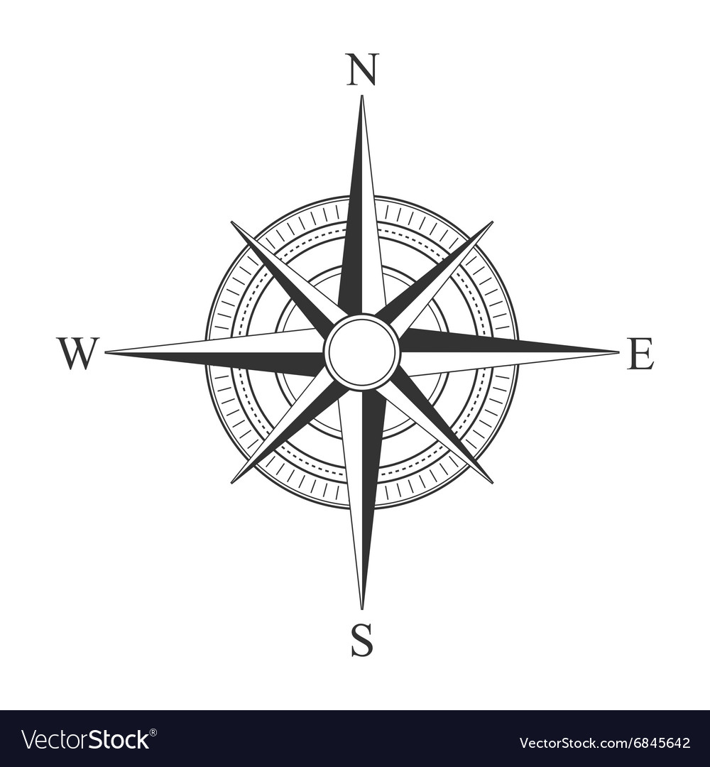 Black compass icons vector