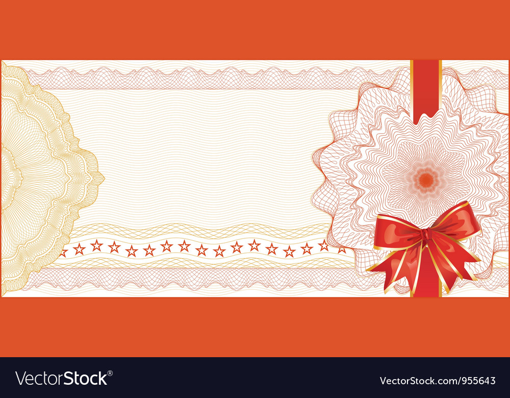 Guilloche background for gift certificate with red vector