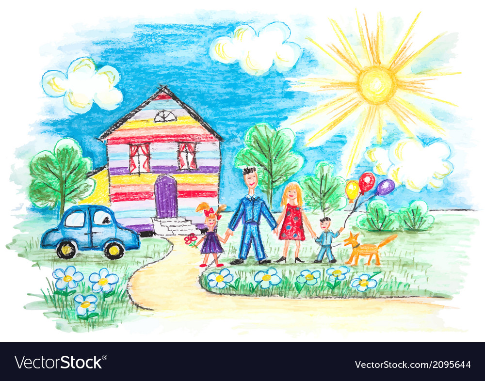 Childrens sketch with happy family vector