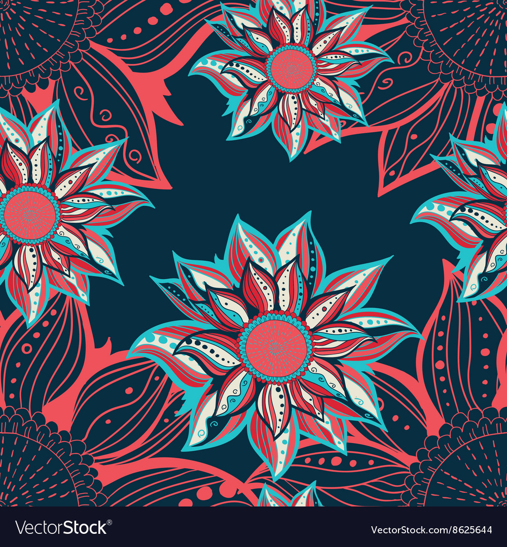Colorful flowers seamless pattern floral frame vector