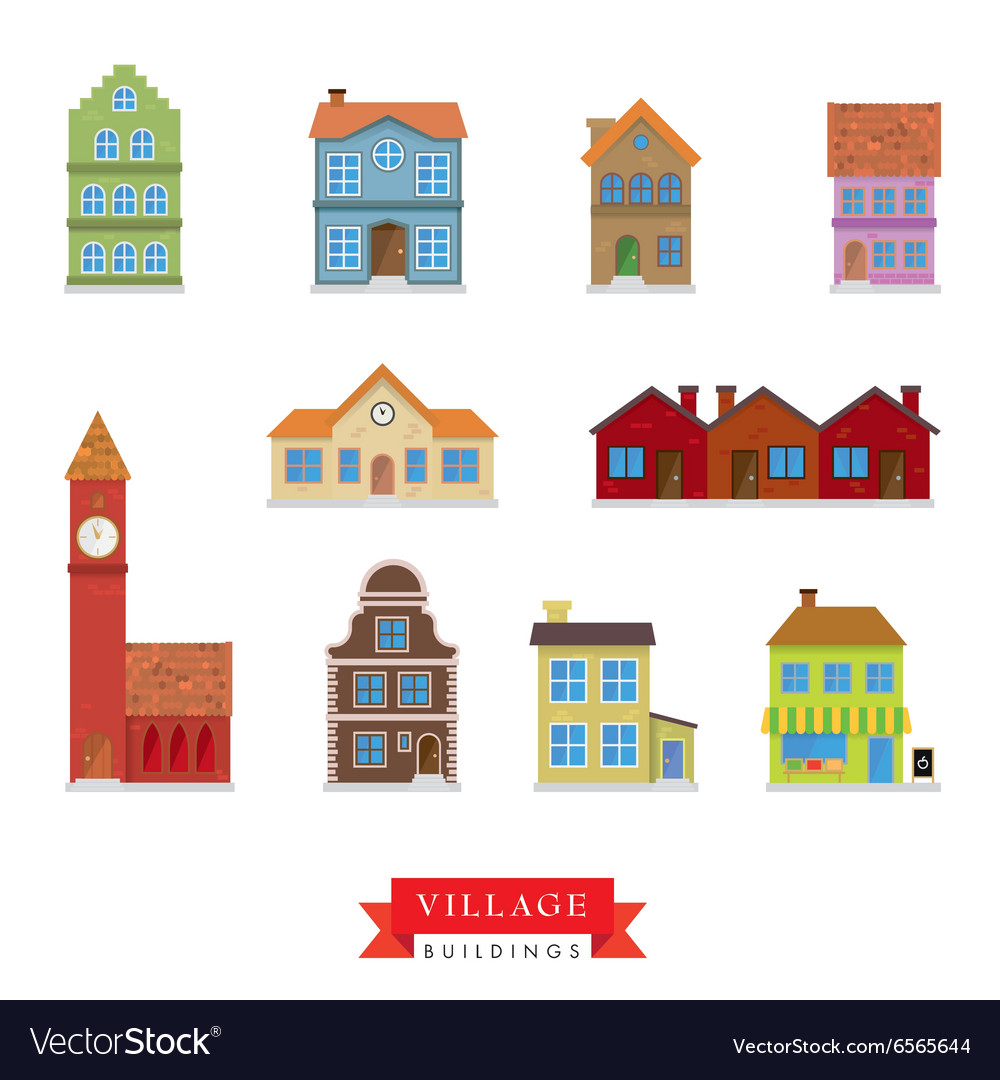 Old village buildings set vector