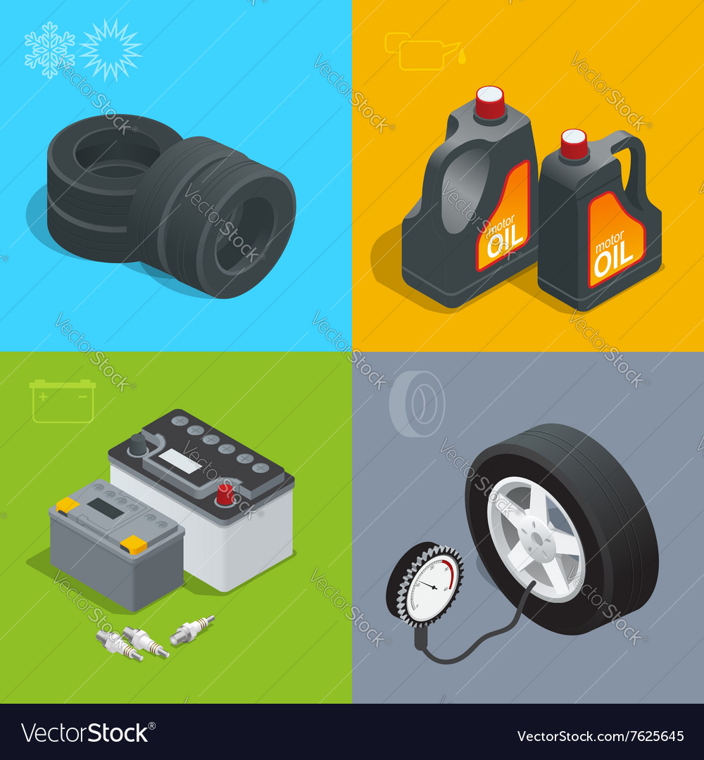 Tire service car auto repair icons flat set vector