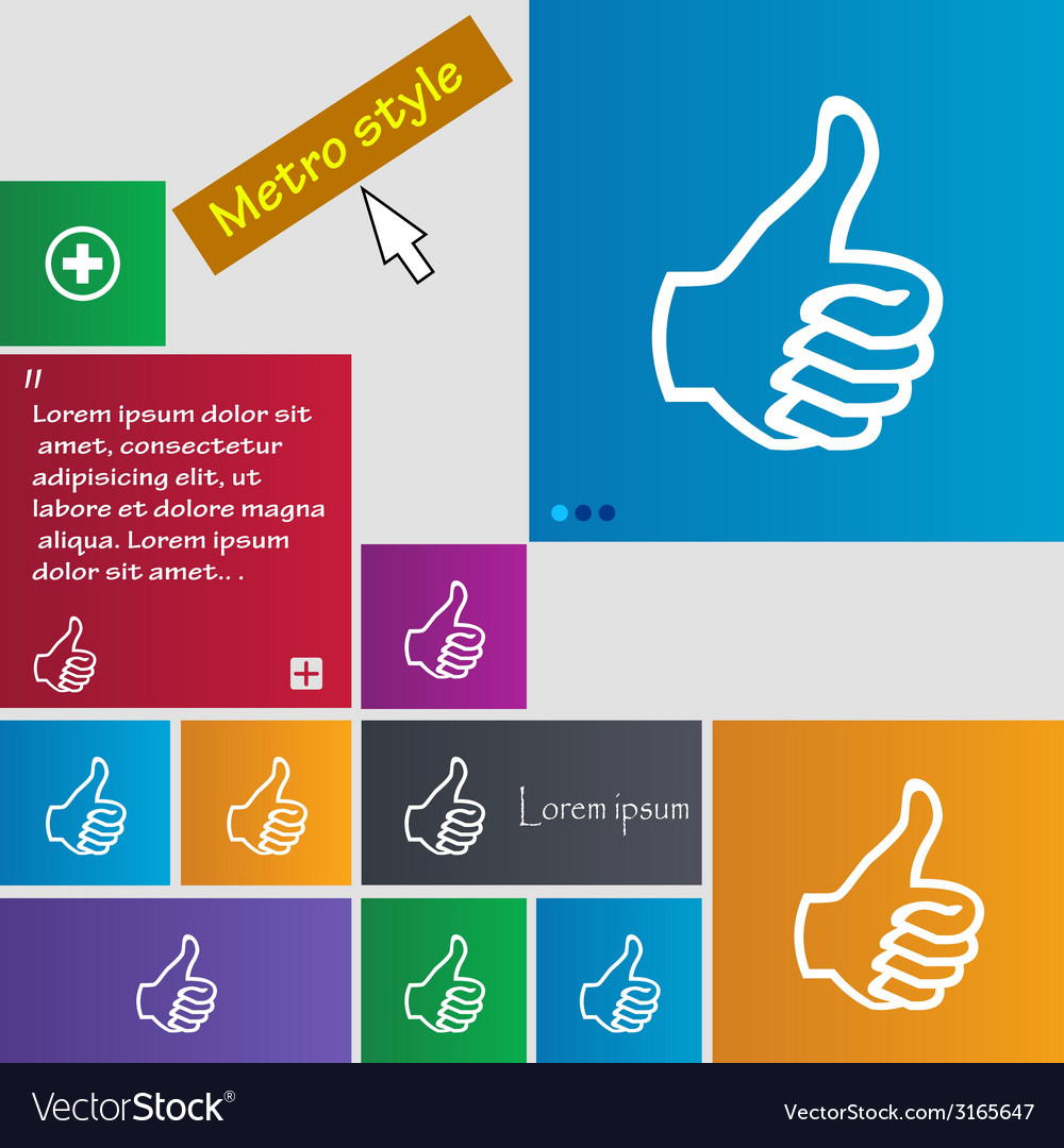 Like sign icon thumb up symbol hand fingerup set vector