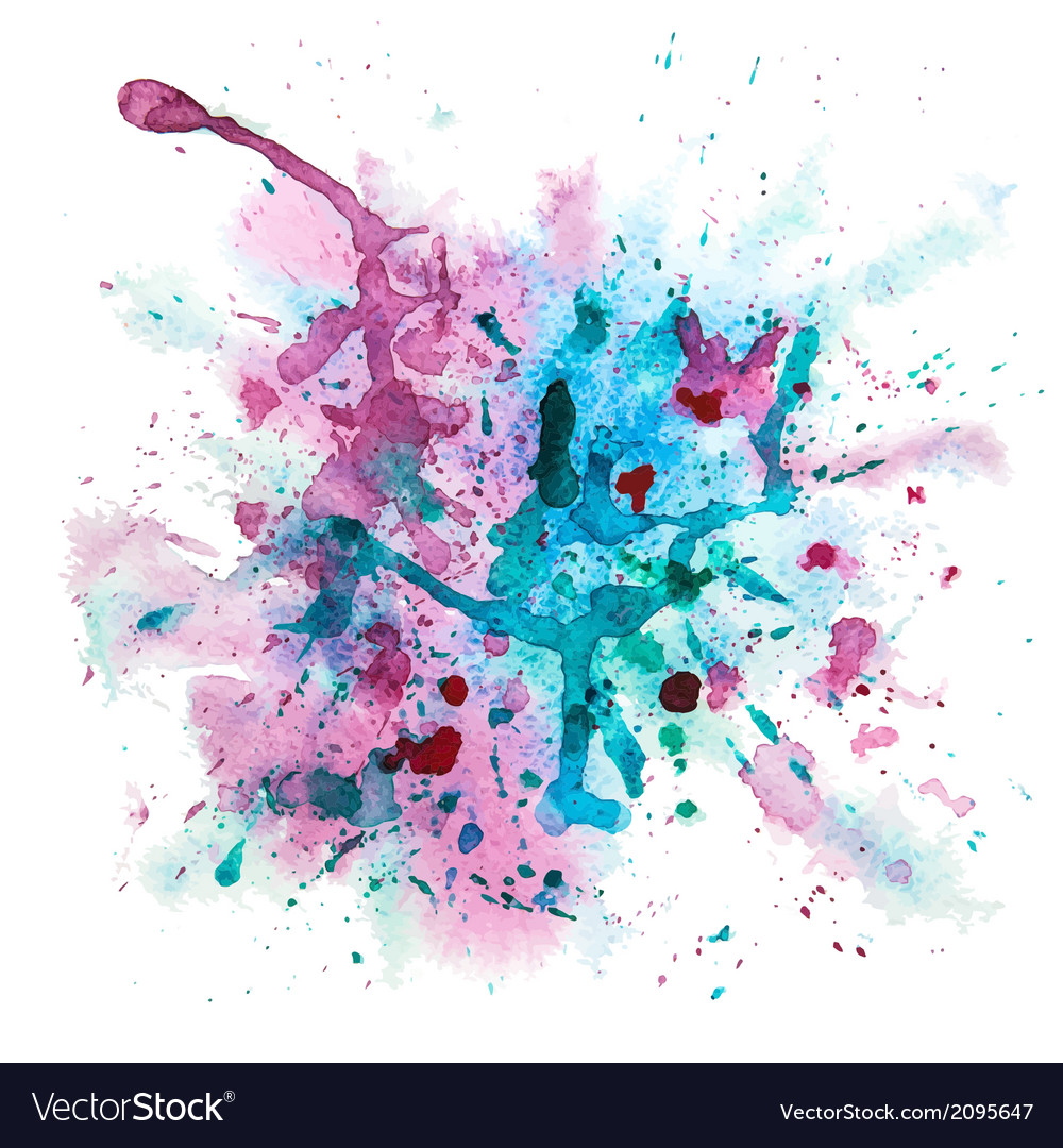 Multicolor watercolor splash vector