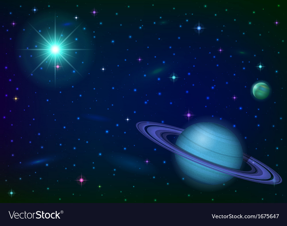 Space background with planet and sun vector