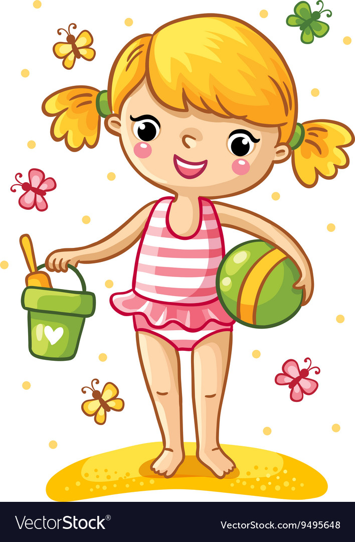 Cute little girl playing in the sand vector