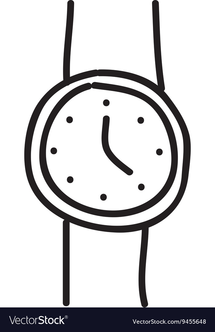 Hand watch drawing isolated icon design vector