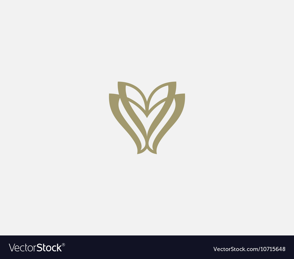 Linear flower logo icon design elegant vector