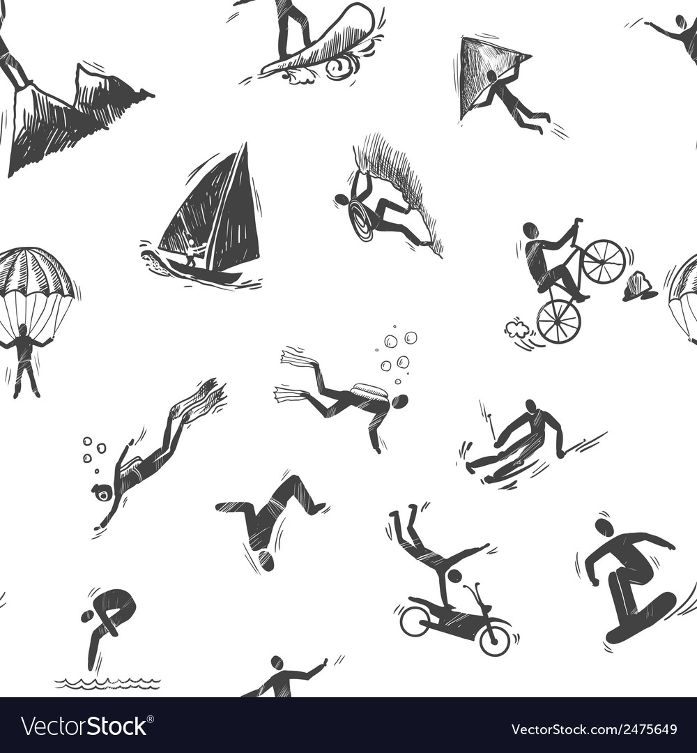 Extreme sports icon seamless vector
