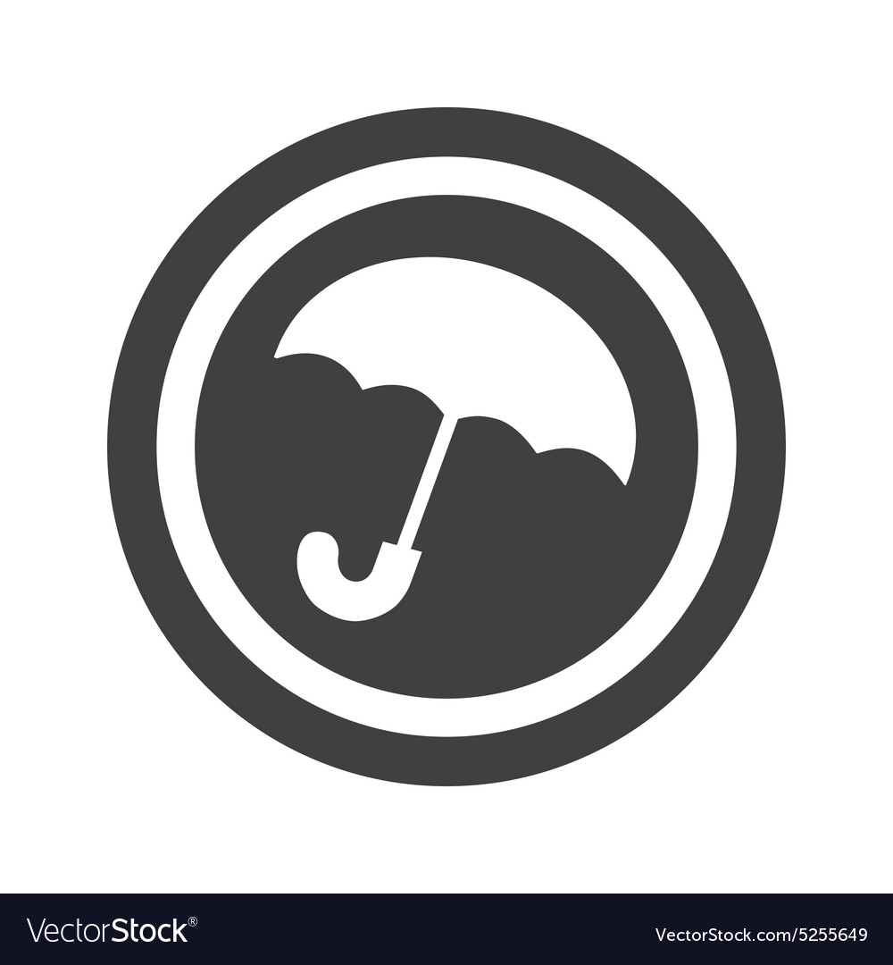 Round black umbrella sign vector