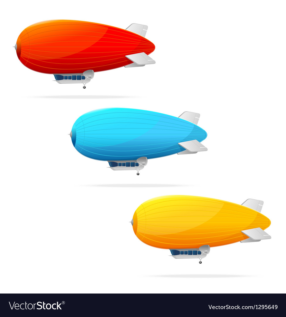 Set of dirigible balloon and text vector