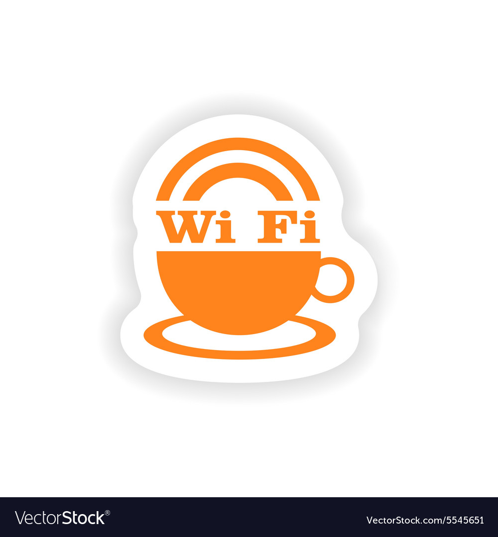 Icon sticker realistic design on paper wifi vector