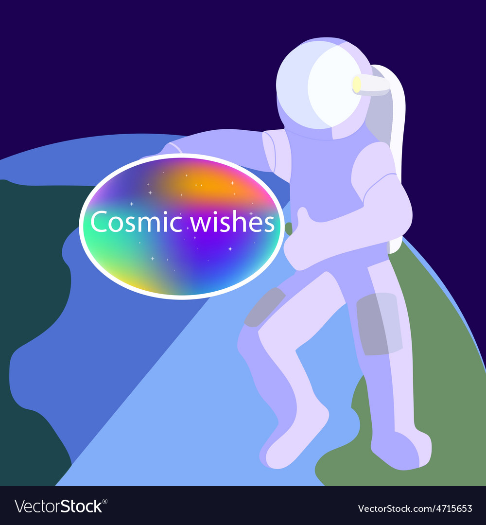 Cosmo card with astronaut vector