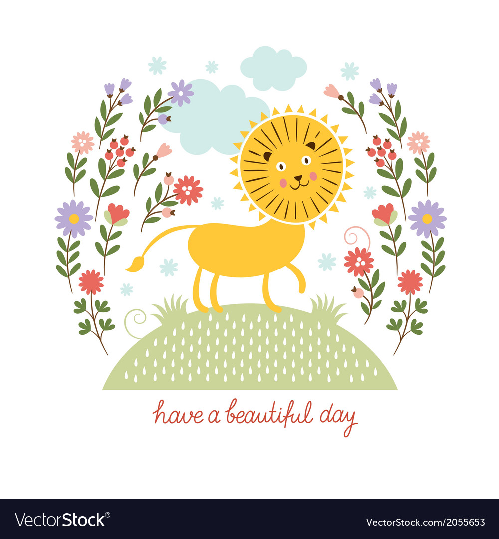 Cute lion and flowers vector