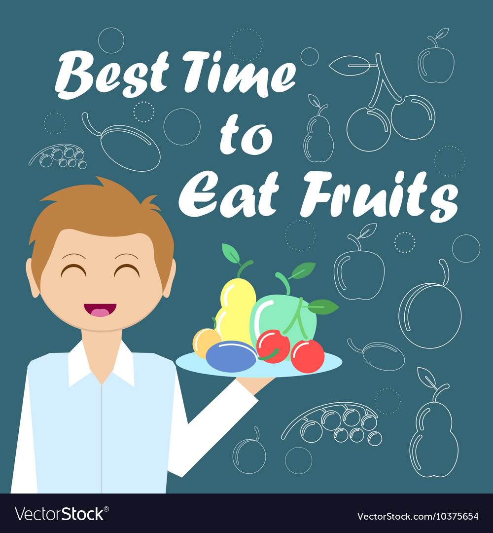 Card with the waiter and fruits for your design vector