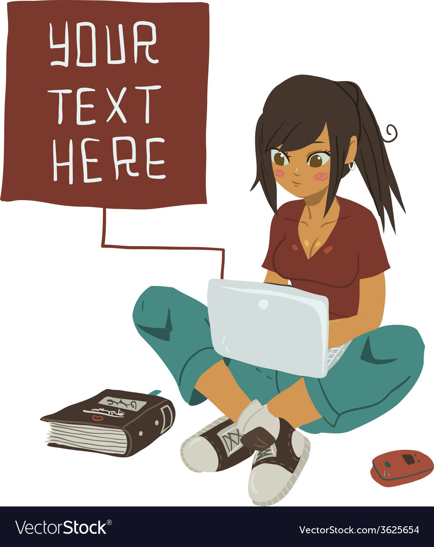 Girl writing text message on notebook vector