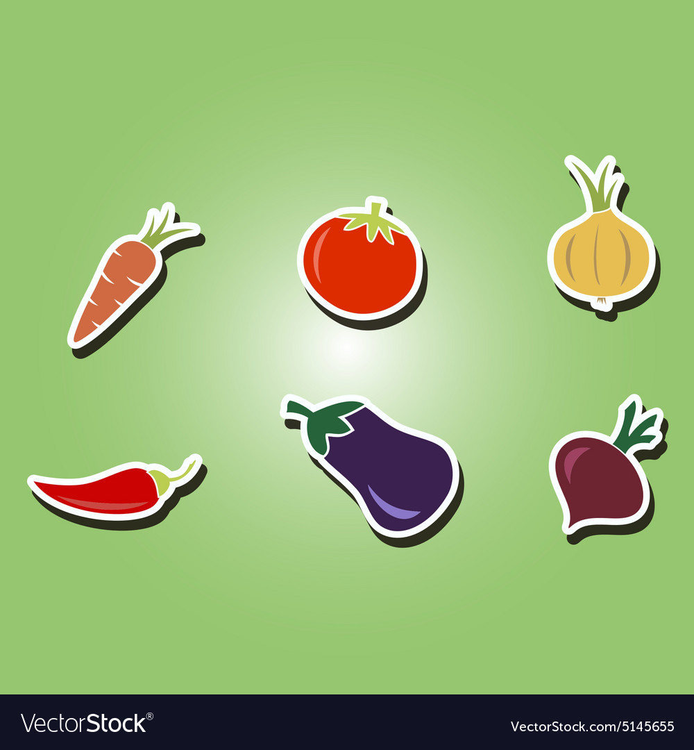Color icons with vegetables vector