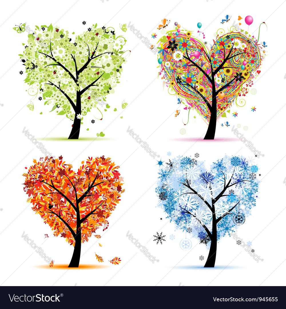 Four seasons trees  spring summer autumn winter vector
