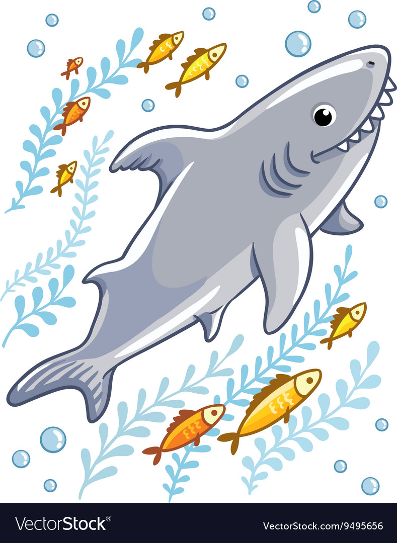 Cartoon shark in the sea surrounded by little fish vector
