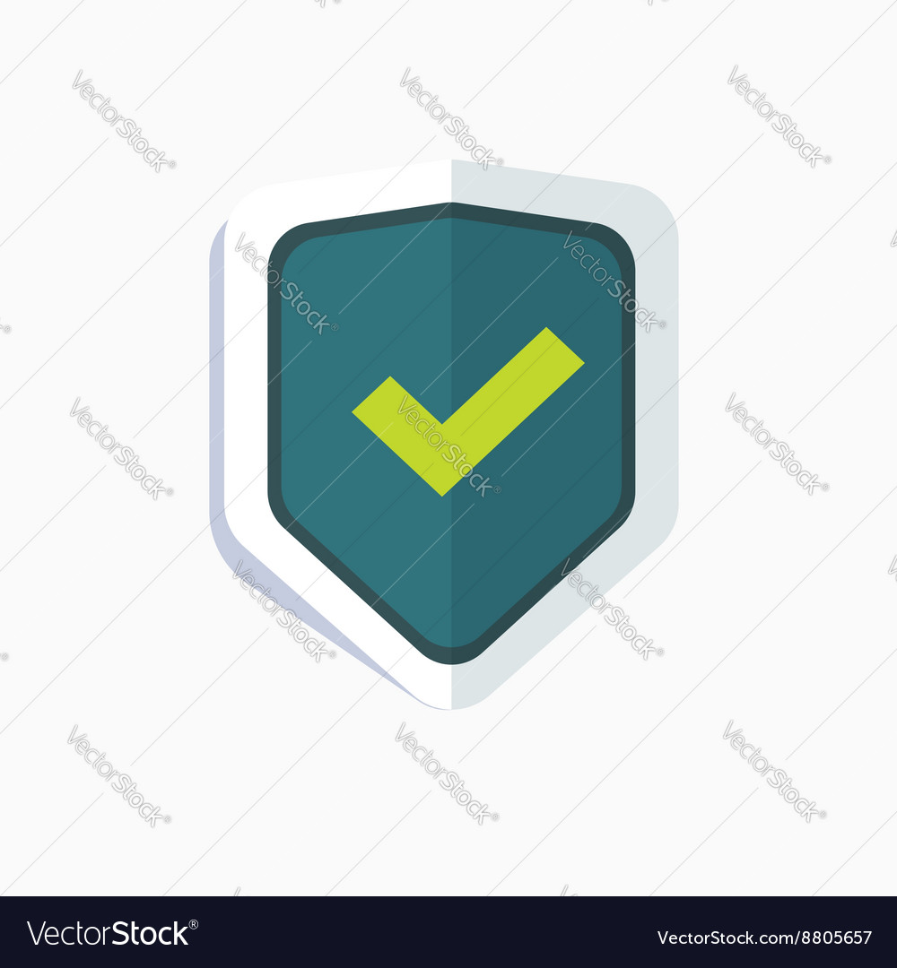 Blue shield with green check mark symbol icon vector