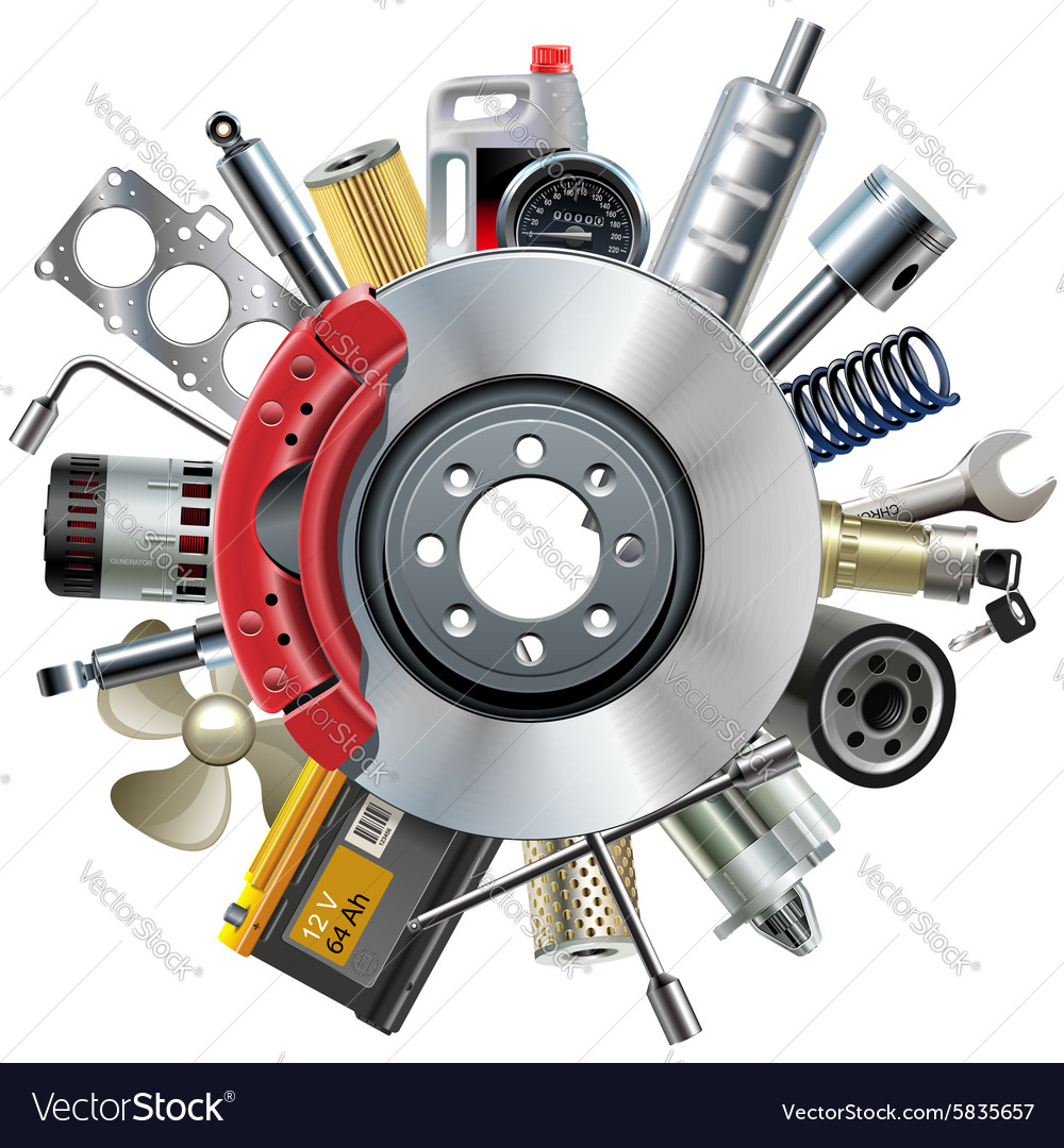 Car spares concept with disk brake vector