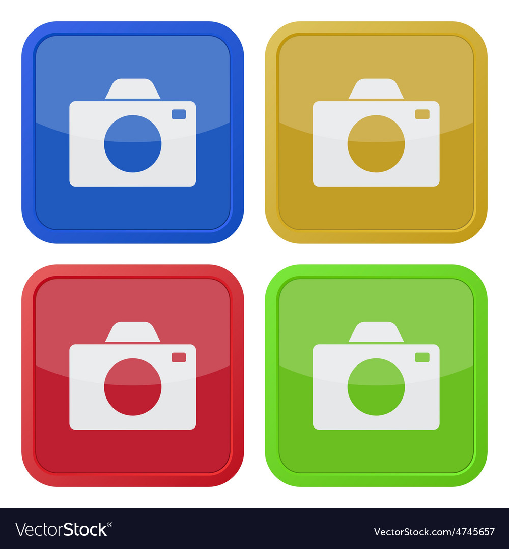 Set of four square icons with camera vector