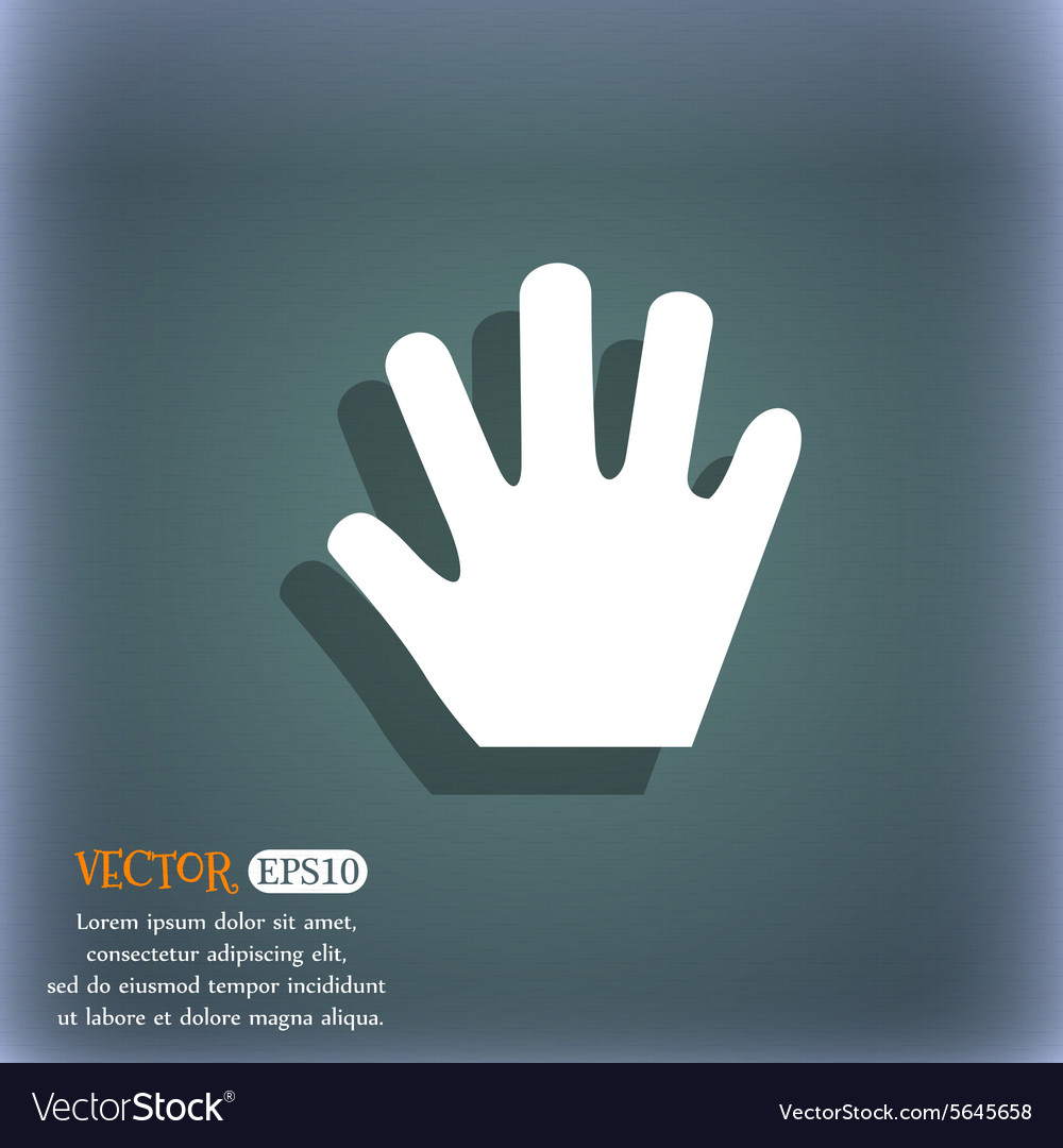 Hand icon symbol on the bluegreen abstract vector