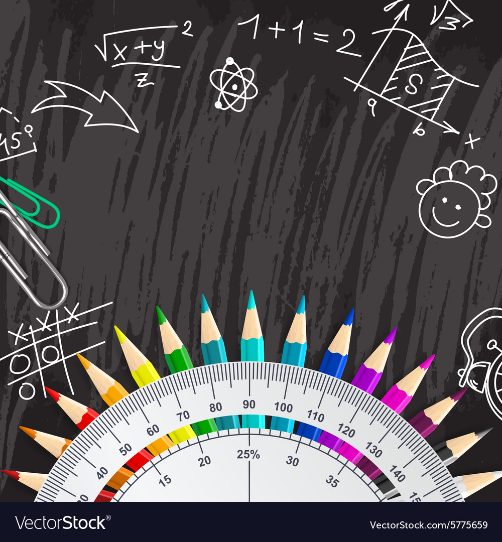 Creative chalkboard school background with pencils vector