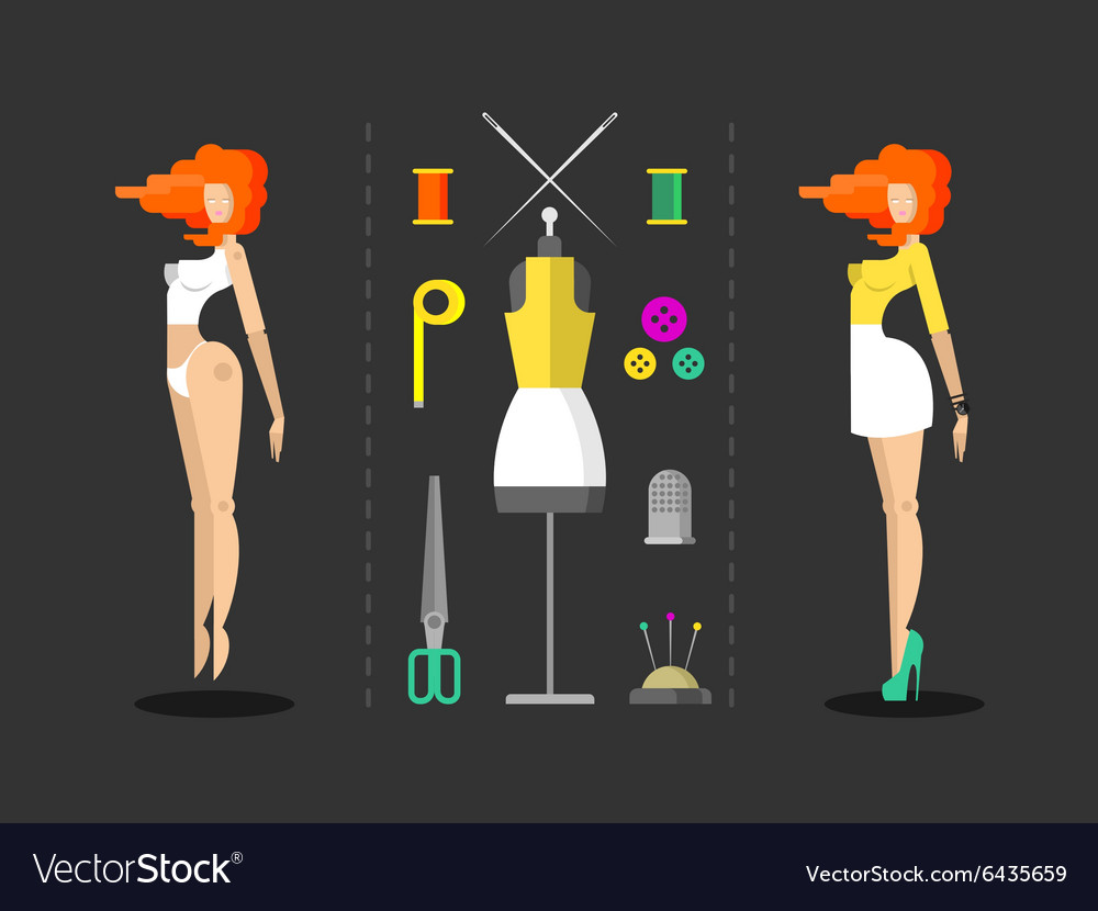 Fashion and sewing hand work vector