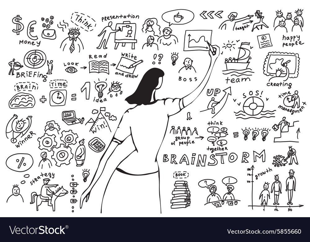 Business woman doodles presentation vector